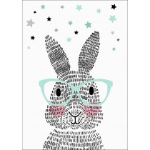 Poster Mr Rabbit met bril A2